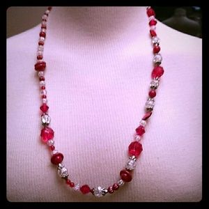 Long red and clear beads